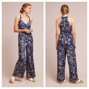 [Anthropologie] Blue Paisley Print V-Neck Jumpsuit